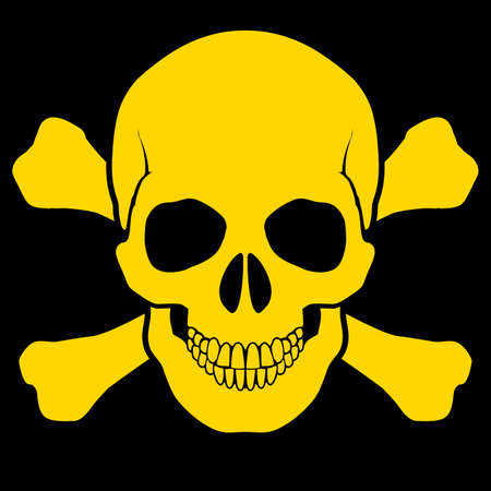 Yellow skull and cross-bones on black . Symbol of danger Stock Vector - 25942638