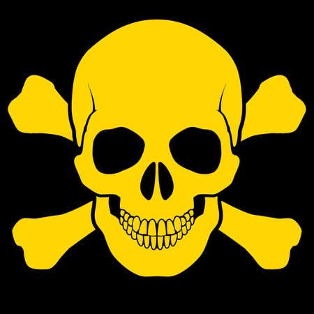 dangerous: Yellow skull and cross-bones on black . Symbol of danger