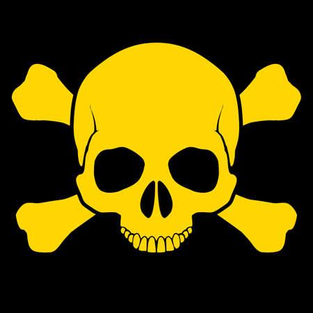 Yellow skull and cross-bones on black as sign of danger Stock Vector - 25942644