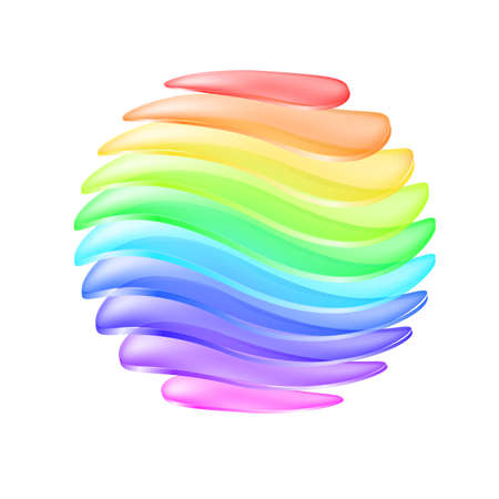 Abstract sphere made of colorful curved layers. Illustration on white background Vector