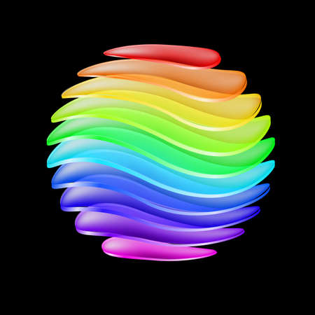 rainbow sphere: Abstract sphere made of colorful curved layers. Illustration on black background