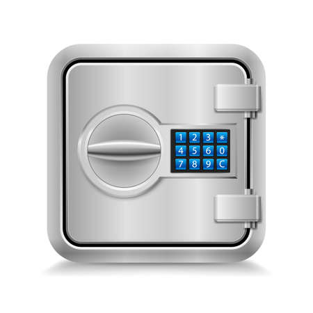 combination lock: Icon of metal safe with electronic lock on white background