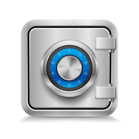 Icon of metal safe with mechanical code lock on white background Vector