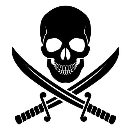 Black skull with crossed sabers. Illustration of pirate symbol Vector