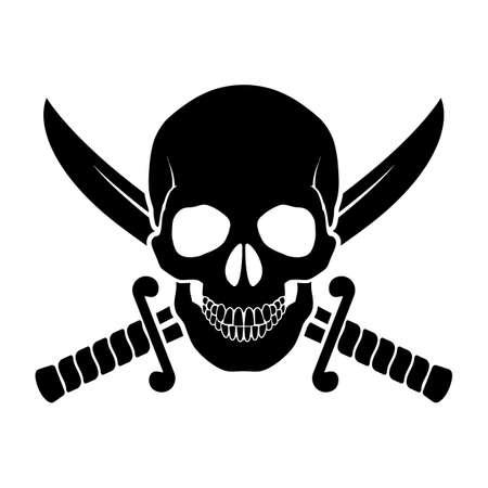 drapeau pirate: Noir crâne avec des sabres croisés derrière elle. Illustration de symbole de pirate Illustration