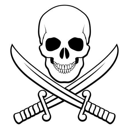 crossed swords: Skull with crossed sabers beneath. Black-and white illustration of pirate symbol