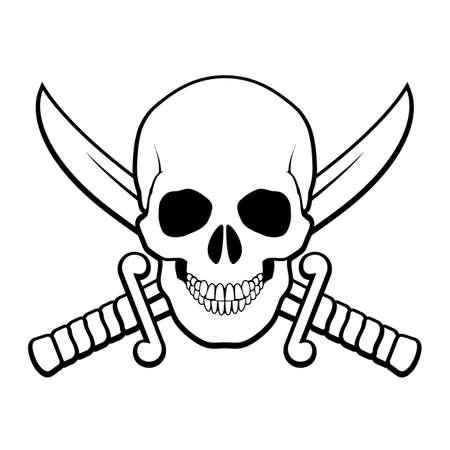 calavera pirata: Cráneo con los sables cruzados detrás de él. Ilustración Negro y blanco del símbolo del pirata Vectores