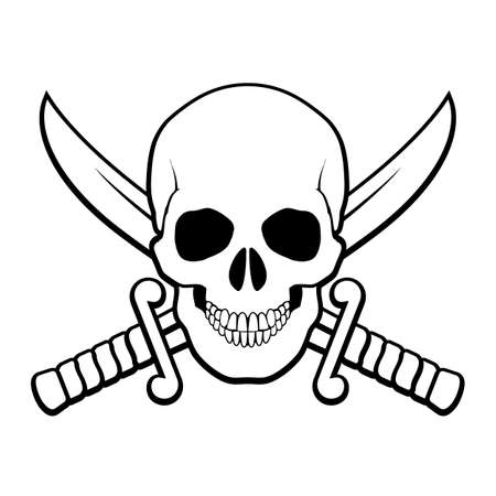 symbolic cross: Skull with crossed sabers behind it. Black-and white illustration of pirate symbol Illustration