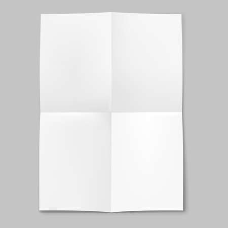 folded paper: Blank sheet of paper folded in four on grey background Illustration