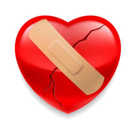 Rosso lucido cuore con intonaco incrinato su sfondo bianco Archivio Fotografico - 26129997