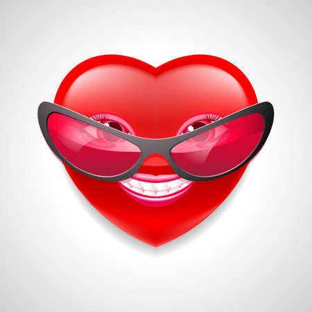 Smiling female heart character in glasses on light grey background