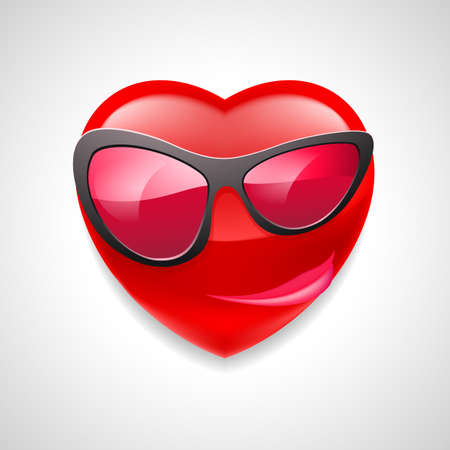 cocky: Female heart character in glasses with a grin on light grey background Illustration