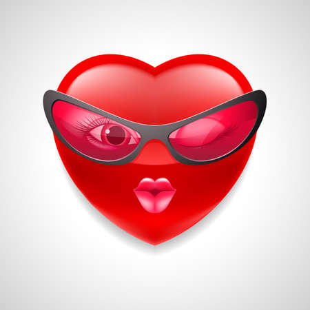 Coquettish female heart character in glasses on light grey background Illustration