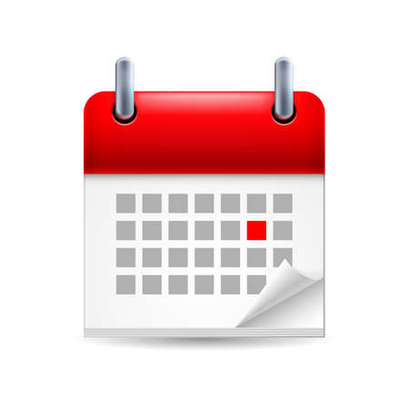 event planning: Calendar icon with red marked day on first page with folded corner