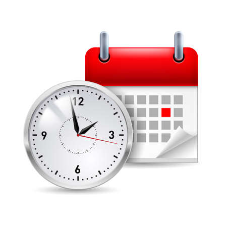 corner clock: Time icon with calendar and clock in front of it