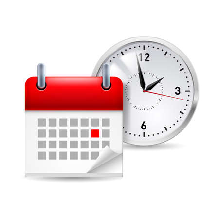 meeting agenda: Time icon with calendar and clock behind it