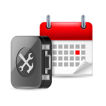 tooling: Repair and time icon with tool box and calendar