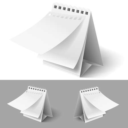 clean off: Blank table flip calendars with tear off first page on white and grey backgrounds