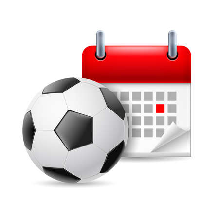 Icon of football and calendar with marked day. Sport event Stock Vector - 26202405