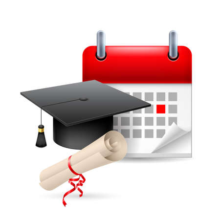 Graduation hat, scroll and calendar with marked day. Education event Vector