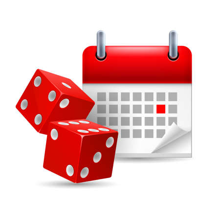 Icon of red dice and calendar with marked day Stock Vector - 26202427