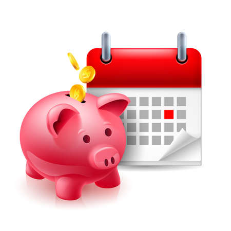 Time and money icon with piggy bank and calendar