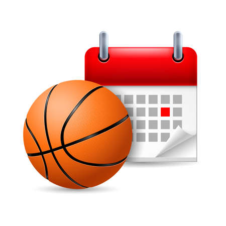marked: Basketball and calendar with marked day. Sport event