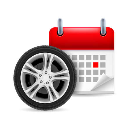marked: Icon of car tire and calendar with marked day