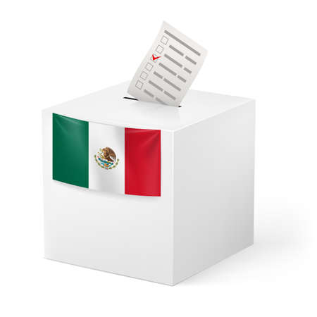 voting ballot: Election in Mexico: ballot box with voicing paper isolated on white background