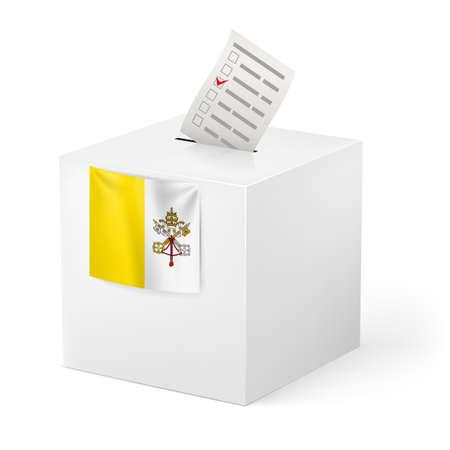 voting ballot: Elecciones en la Ciudad del Vaticano: urna con la papeleta de voto aislado en fondo blanco Vectores