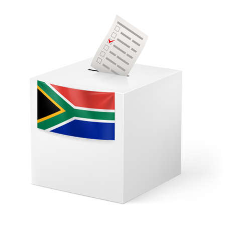 official ballot: Election in South Africa: ballot box with voting paper on white background