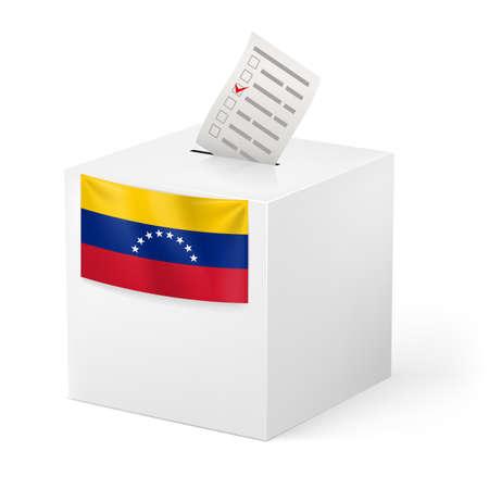 venezuelan: Elecciones en Venezuela: urna con la papeleta de voto en el fondo blanco Vectores