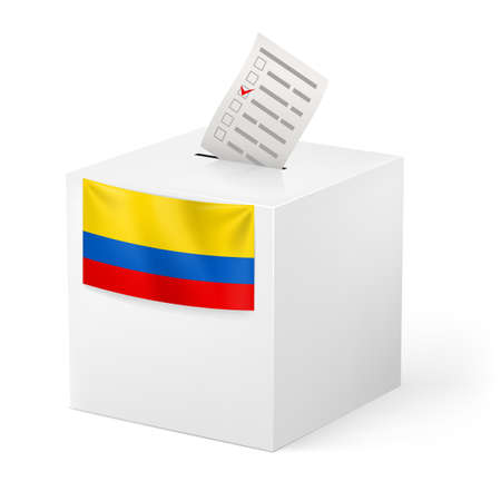 unitary: Election in Colombia: ballot box with voting paper on white background