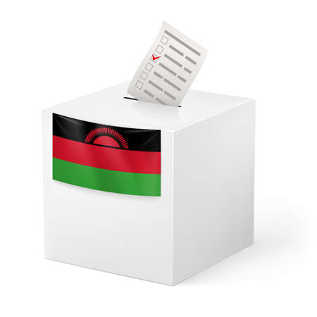 malawi flag: Election in Malawi: ballot box with voting paper on white background