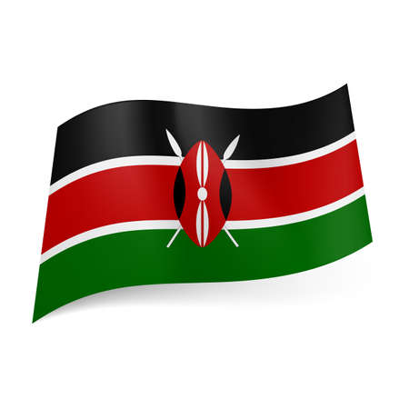 kenya: National flag of Kenya: black, red and green horizontal stripes with shield and two spears in centre  Illustration