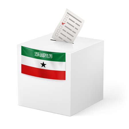 somaliland: Election in Somaliland: ballot box with voting paper on white background Illustration