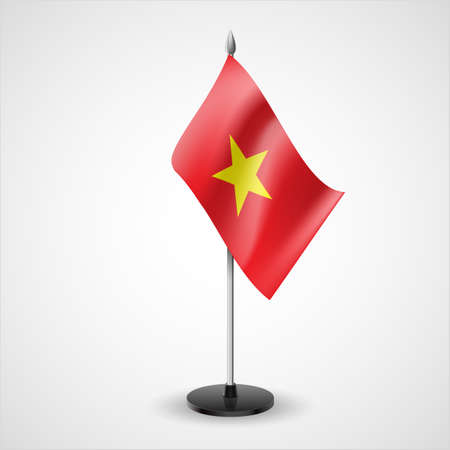 asian business meeting: State table flag of Vietnam. National symbol   Illustration