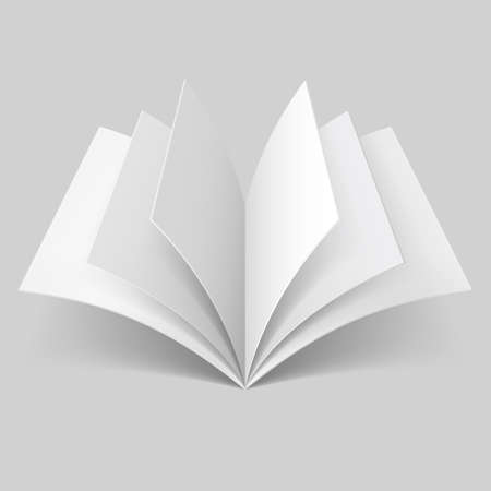 open magazine: Open book with blank pages isolated on grey background Illustration
