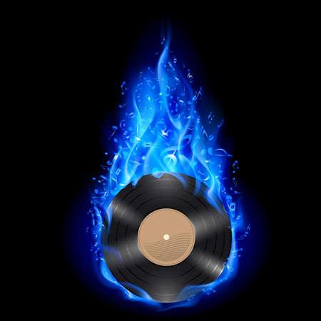 Vinyl schijf branden in blauwe vuur met noten op een zwarte achtergrond.
