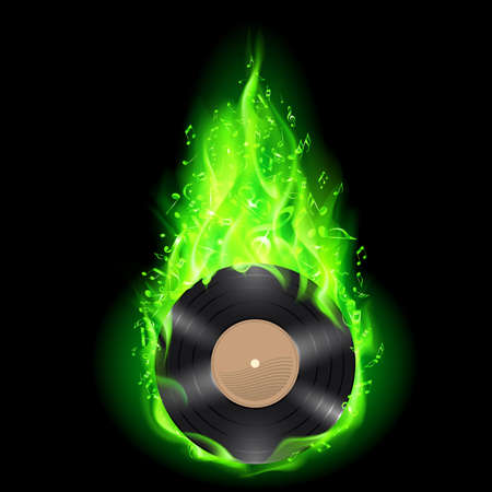 Vinyl disc burning in green fire with notes on black background. Vector