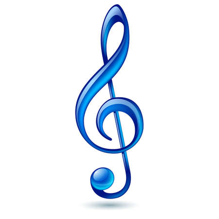 Shiny blue treble clef on white background