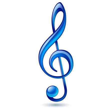 Shiny blue treble clef on white background
