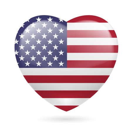 米国旗の色とハート