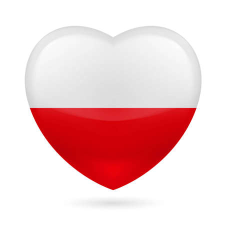 Heart with Poland flag colors Vector