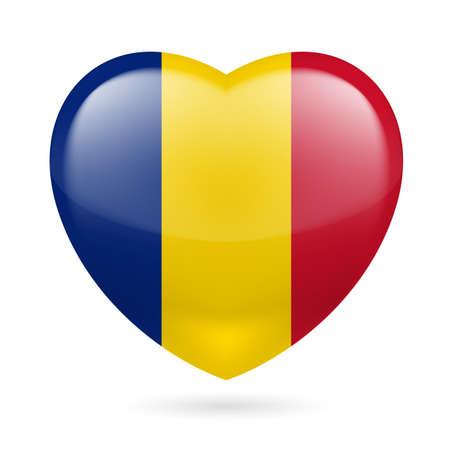 romania flag: Heart with Romanian flag colors