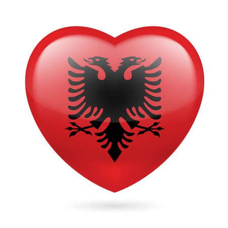 albania: Heart with Albanian flag colors