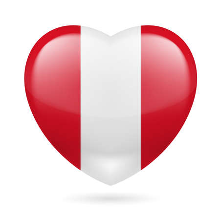 Heart with Peruvian flag colors Vector