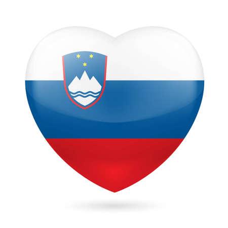 Heart with Slovenian flag colors. I love Slovenia