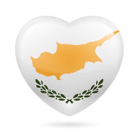 キプロスの国旗の色で心。キプロスを愛してください。  イラスト・ベクター素材