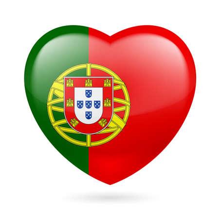 drapeau portugal: Coeur avec les couleurs du drapeau portugais. I love Portugal Illustration